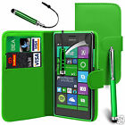 Green PU Leather Wallet Flip Case Cover, Screen Film & 3 Pens For Various Phones