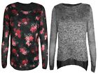 New Ladies Women Jumper Split Back Floral Top Smart Casual Long Sleeve Size S