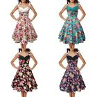 50s Hepburn Vintage Retro Sleeveless Floral Flower Swing Full Flared Prom Dress