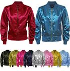 LADIES WOMENS MA1 SATIN ARMY FLIGHT LIGHTWEIGHT RETRO BOMBER SUMMER BIKER JACKET