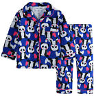 Pyjamas Girls Winter Flannel (Sz 3-7) Pjs Set Indigo Purple Panda Sz 3 4 5 6 7