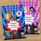 Personalised Super Hero Boys & Girls Birthday Party Invites With & Without Photo