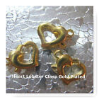 Heart Lobster Clasps Gold Plated 12pcs 24 pcs Jewelry Finding Bead Art 10x12mm