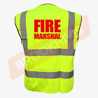 FIRE MARSHAL WARDEN BIG HI VIZ VIS WAISTCOAT VEST TABARD JACKET SAFETY WORK WEAR