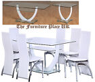 Henley Dining Set 6 Chairs Clear Glass with White Chrome or Lamp Coffee Table