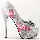 Silver Butterfly Print Club Party Evening Stiletto Pumps Size 5/6/7/8/9/9.5/10