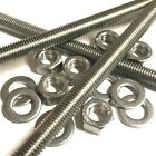 M4 A2 Stainless Steel Threaded Bar - Rod Studding 4mm + Full Nuts + Washers