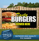 TASTY BURGERS SERVED HERE FOOD CAFE PVC BANNER PROMOTIONAL VARIOUS SIZES