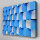 AB718 Modern 3D geometric blue Canvas Wall Art Abstract Picture Large Print