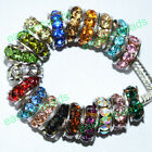 Hot Fashion Quality Crystal 18KGP Spacer Charms European Beads Fit DIY Bracelets
