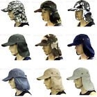 Sun Cap Ear Flap Neck Cover Sun Protection Military Style Cap Adjustable Size