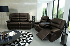 New Valencia Luxury Brown Bonded Leather Recliner Sofa With Drinks Holder
