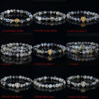 Men's Black White Agate Silver/Gold Chakra Buddha/Lion Head/Disco Ball Bracelets