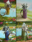 FAIRY DUST BOTTLE CHARM GLITTER GLASS GOLD GREEN BLUE PURPLE BAG KEYRING