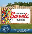 SWEETS SOLD HERE RETRO CLASSIC CANDY PVC BANNER PROMOTIONAL VARIOUS SIZES