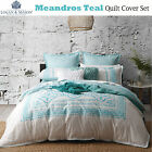 MEANDROS TEAL White Doona Duvet Quilt Cover Set By Logan and Mason - QUEEN KING