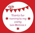 48 Personalised Bunting Birthday Party Stickers Thankyou Sweet Cones Bags Owl