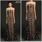 NWT JOVANI 99306 mermaid dress with a sheer panel neckline lace black/nude $878