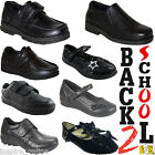 KIDS BOYS GIRLS SCHOOL SHOES BLACK SLIP ON / VELCRO CASUAL TRAINERS SHOES SIZE