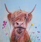 'Ronald Junior' Highland cow painting by Julia Pankhurst in various print sizes