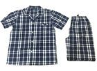 Pyjamas Mens Short Sleeve 2 pc PJs Set (Sz S-4XL) Navy Blue Cheques