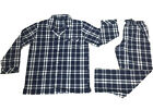 Pyjamas Mens Long Sleeve 2 pc PJs Set (Sz S-4XL) Navy Blue Cheques
