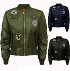 NEW WOMENS LADIES PADDED COMBAT BADGE AIR FORCE ARMY VINTAGE BOMBER BIKER JACKET