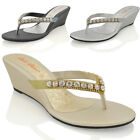 Womens Wedge Heel Sandals Sparkly Diamante Ladies Flip Flop Summer Holiday Shoes