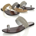 Womens Flat Sandals Toe Post Diamante Strappy Ladies Slip On Sparkly Mule Shoes