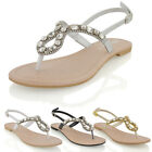 NEW WOMENS FLAT HOLIDAY DIAMANTE BACK STRAP LADIES SPARKLY SANDALS SHOES SIZE