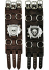 Nemesis Heavy Duty Skull Triangle Watch with Faded Wide Detail Leather Cuff Band