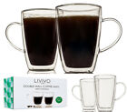 2/4/6 LIVIVO DOUBLE WALL COFFEE MUGS W HANDLE GLASSES THERMO INSULATED CUPS 280M