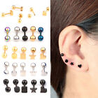 2x Barbell Cartilage Helix Tragus Ear Studs Bar Earring Piercing Stainless Steel