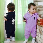 Baby  Kids Short Sleeve  hooded Rompers Infant Polo Bodysuit Many colors