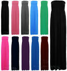 Ladies Womens Sheering Boobtube Strapless Bandeau Long Maxi Dress Plus Size 8-26