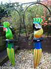 Hand Made Carved Wooden Cockatoo Parrot On Perch Swing Bird Ornament Statue