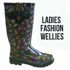 Ladies Wellies UK 6,7 Festival Summer Rain Rubber Short Wide Wellington Boots