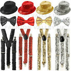 SPARKLY SEQUIN ADULTS HAT BRACES DICKY DICKIE BOW TIE FANCY DRESS PARTY SET