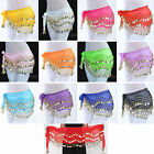 Belly Dance Hip Scarf Coin Wrap Belt Skirt All Colors 3 Rows 98 Gold Coins