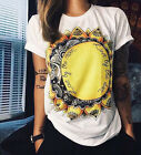 Summer Women Short Sleeve Vintage Printed T Shirt Casual Tops Loose Blouse S-XXL