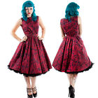 Chicstar Rockabilly Pin Up Retro Dusk Dream Dress Red Floral Vintage Swing