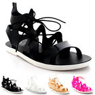 Womens Lace Up Jelly Ankle Summer Holiday Beach Cut Out Gladiator Sandals UK 3-9