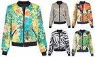 Women Ladies MA1 Satin Bomber Jacket Coat Leopard Zebra Floral Gold Chain Aztec
