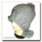 NEW WOMEN WINTER BEANIE HAND KNITTED Snow Ball Hat HIGH QUALITY / Grey -A171