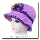 NEW FASHION WOMEN CROCHET CHEMO WINTER HAT BEANIE W FLOWER PIN / PURPLE Q116