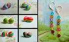 1 X PAIR RAINBOW EARRINGS PIERCED EARS FRENCH HOOK OR STUD SILVER TONE