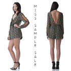 Floral Mix Intermix Mustard Seed Multi Color Front Cut Out Short Jumpsuit Romper
