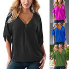 Women's Plus Size Loose Casual V Neck Zipper Short Sleeve Tee Shirt Blouse Tops