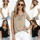 Fashion Women  Loose Pullover T Shirt Short Sleeve Cotton Tops Casual Blouse