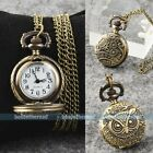 Vintage Steampunk Retro Bronze Pocket Watch Quartz Necklace Wathces Gift